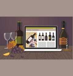 bottles of wine notebook glasses wine tasting vector image