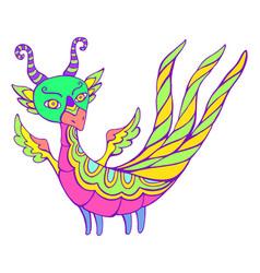 Bright dragon fantasy cartoon with wings horns vector