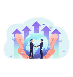 business people shake hand with world and growth vector image