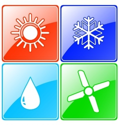 button set with drop sun snowflake and fan vector image
