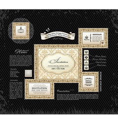 calligraphic vintage frames and design ornament vector image