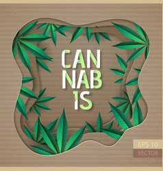 cannabis typography poster with leaves vector image