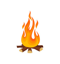 cartoon icon of bonfire campfire tree logs and vector image