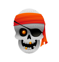 cartoon pirate skull with bandana vector image