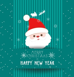 christmas and happy new year with santa claus card vector image