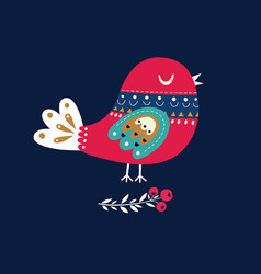 christmas with bird vector image