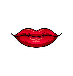 Chubby female lips with glossy red lipstick vector