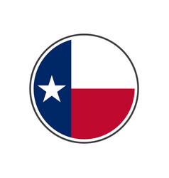 circle texas flag with icon isolated on white vector image