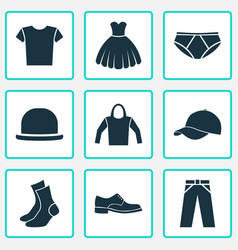 Clothes icons set collection of half-hose pants vector
