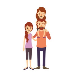 Colorful image caricature family with mother and vector