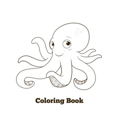 Coloring book octopus cartoon educational vector image