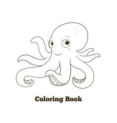 Coloring book octopus cartoon educational vector image