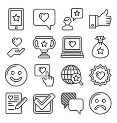 Customer reviews and feedback icon set line style vector