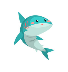 cute funny blue shark cartoon character vector image