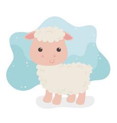 Cute sheep animal farm character vector