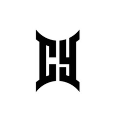 cy monogram logo with curved side vector image