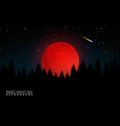 Dark forest and big red moon vector