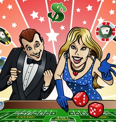 Dice table at Casino vector image vector image