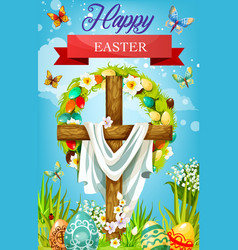 Easter cross with eggs lily flowers and shroud vector