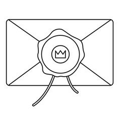 envelope with wax stamp icon outline style vector image