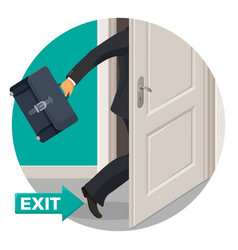 Exit door and bisunessman with leather briefcase vector