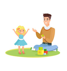 father and young daughter vector image