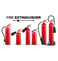 Fire extinguisher set different types vector
