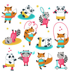 Fitness raccoon panda fox icon set vector