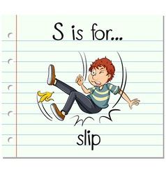 Flashcard letter S is for slip vector image