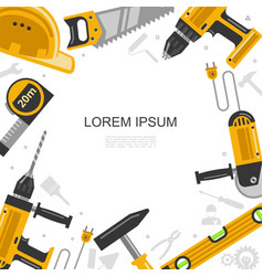 Flat construction tools template vector