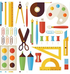 Flat seamless pattern back to school objects vector