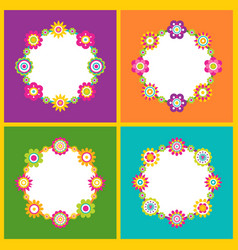 floral frame in form of circle vector image