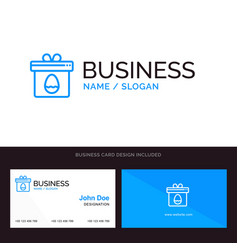 gift box egg easter blue business logo and vector image