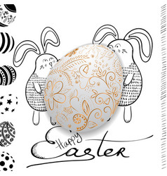 golden easter egg with holiday greeting vector image