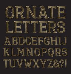Golden ornate capital letters with tendrils vector