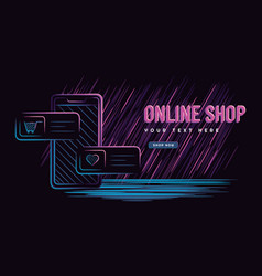 Graphic online shop concept with smartphone vector