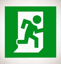 Green Emergency Exit Sign with running human vector image