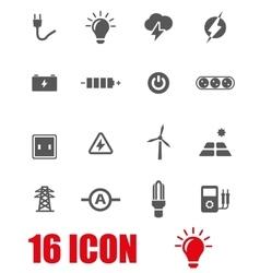 Grey electricity icon set vector
