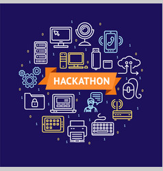 hackathon signs round design template thin line vector image