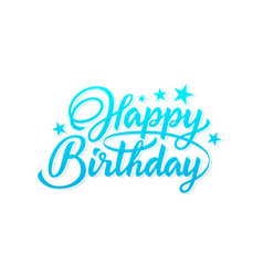 happy birthday blue inscription vector image