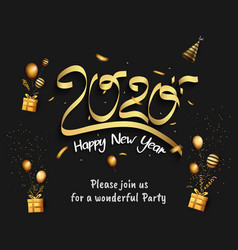 Happy new year 2020 golden number with party vector