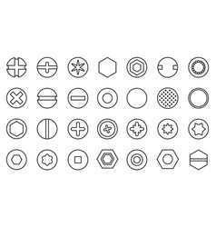 Head fastener outline set iconisolated vector