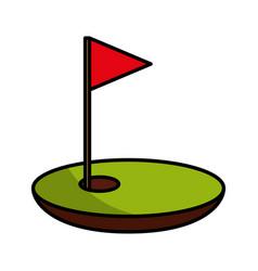 Hole golf with flag vector