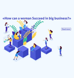 Isometric career ladder for women success vector