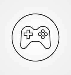 joystick outline symbol dark on white background vector image
