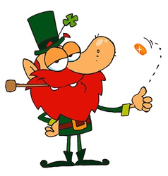 Leprechaun Smoking A Pipe And Flipping A Gold Coin vector