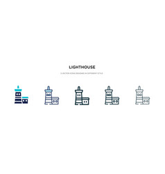 Lighthouse icon in different style two colored vector
