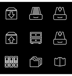 line archive icon set vector image