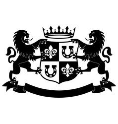 lions heraldry shield vector image