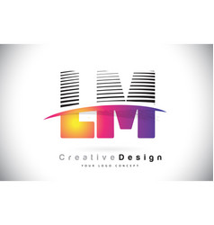 Lm l m letter logo design with creative lines and vector